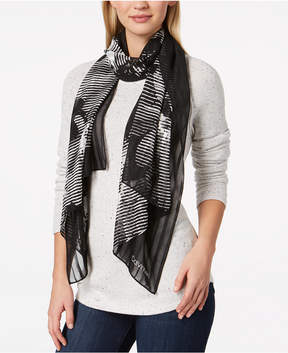 Calvin Klein Graphic Floral Chiffon Scarf, Created for Macy's