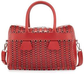 Paco Rabanne Boston Circle-Cut Leather Satchel Bag