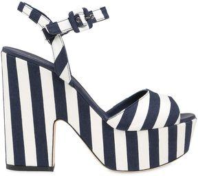 Le Silla 130mm Striped Canvas Platform Sandals