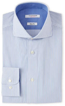 Isaac Mizrahi White & Blue Stripes Dress Shirt