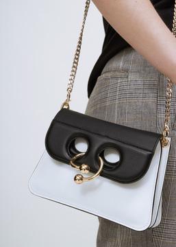 J.W. Anderson white / black mini pierce bag