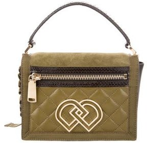 Dsquared2 Snakeskin-Trimmed Leather Satchel