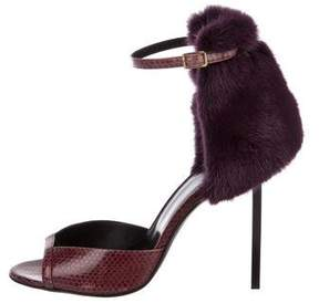 Pierre Hardy Snakeskin Mink-Accented Sandals