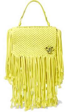 Emilio Pucci Leather-Trimmed Fringed Macramé Shoulder Bag