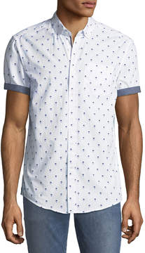 Report Collection Men's Man-In-Hat Short-Sleeve Oxford Shirt