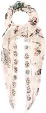 Alexander McQueen Jewelled-bug and skull-print silk scarf