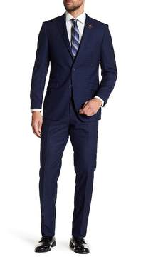 English Laundry Navy Plaid Two Button Notch Lapel Trim Fit Suit