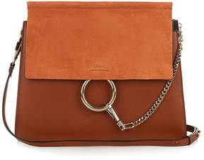 Chloé Faye Medium Leather And Suede Shoulder Bag - Womens - Tan