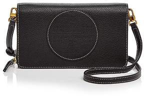 Tory Burch Perforated Logo Flat Leather Wallet Crossbody - BLACK/GOLD - STYLE