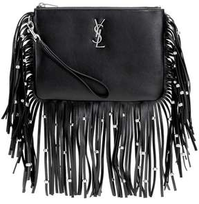 Saint Laurent Monogram fringed leather clutch - BLACK - STYLE