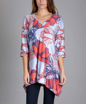 Lily Blue & Red Geo-Flora V-Neck Sidetail Tunic - Women