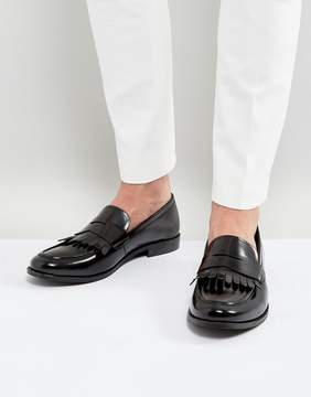 Dune Penny Loafers Hi Shine Black Leather