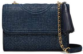 Tory Burch FLEMING SUEDE SMALL CONVERTIBLE SHOULDER BAG - TORY NAVY - STYLE