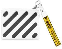 Off-White Striped Leather Flat Pouch