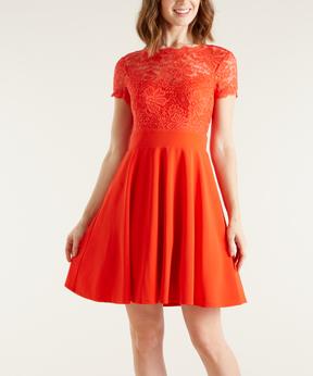 Bebe Orange Lace Cutout-Back Fit & Flare Dress