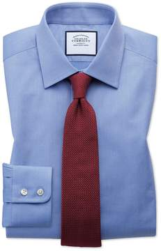 Charles Tyrwhitt Extra Slim Fit Egyptian Cotton Trellis Weave Mid Blue Dress Shirt Single Cuff Size 14.5/32