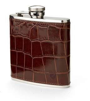 Aspinal of London Classic 5Oz Leather Hip Flask In Deep Shine Amazon Brown Croc