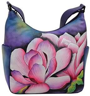 Anuschka Women's Genuine Leather Handbag | Hand Painted Original Artwork | Classic Hobo With Side Pocket |
