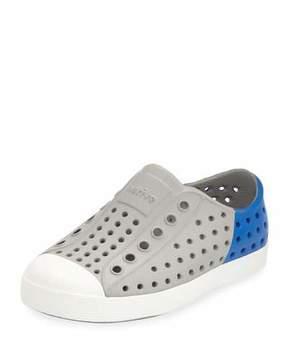 Native Jefferson Waterproof Colorblock Low-Top Shoe, Gray/Blue, Youth