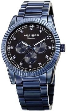 Akribos XXIV Diamond Black Dial Blue Ion-plated Men's Watch