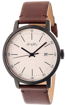 Simplify Mens The 2500 Pewter Dial Leather-Band Watch with Date SIM2504