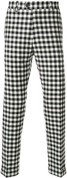Berwich checked slim fit trousers