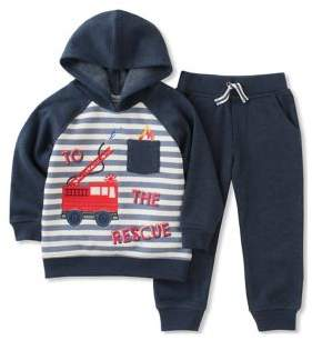Kids Headquarters Baby Boy's Two-Piece Embroidered Hoodie and Drawstring Jogger Pants Set