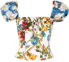 Dolce & Gabbana Lace-up Floral-print Cotton-blend Poplin Bustier Top - Off-white