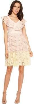 Donna Morgan Ruffle V-Neck Lace Dress Women's Dress