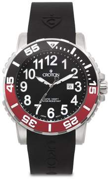 Croton Men's All Stainless Steel Quartz Silicon Strap Black Dial/Black & Red Bezel Watch with Date