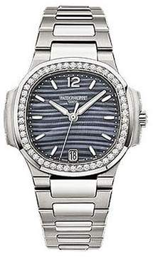 Patek Philippe Nautilus Blue Tinted Mother Of Pearl Dial Automatic Ladies Diamond Watch
