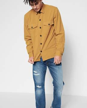 7 For All Mankind Long Sleeve Military Shirt in Ochre