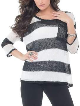 Belldini Black & White Stripe Pocket Scoop Neck Top - Women