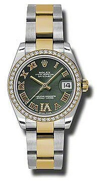 Rolex Datejust Lady 31 Olive Green Dial Stainless Steel and 18K Yellow Gold Oyster Bracelet Automatic Watch