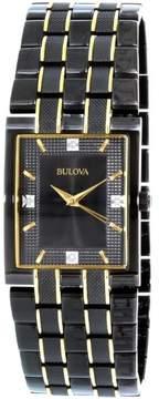 Bulova Men's Diamond 98D004 Black Two-tone Stainless-Steel Quartz Watch