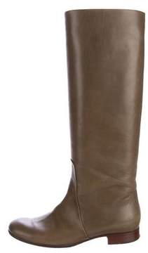 Celine Leather Round-Toe Knee-High Boots