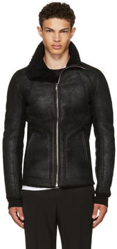 Rick Owens Black Shearling Intarsia High Neck Jacket