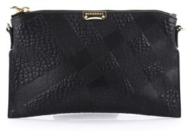Burberry Pre-owned: Peyton Crossbody Bag Embossed Check Leather. - BLACK - STYLE