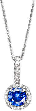 Effy Velvet Bleu by Diffused Sapphire (1 ct. t.w.) and Diamond (1/10 ct. t.w.) Pendant Necklace in 14k White Gold, Created for Macy's