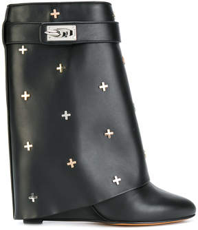 Givenchy shark lock ankle boots with metal crosses