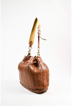 Ralph Lauren Pre-owned Brown Leather Canvas Strap Woven Drawstring Bucket Bag.