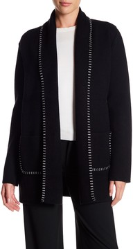 Adrienne Vittadini Long Contrast Stitched Coat