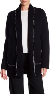Adrienne Vittadini Long Contrast Stitched Coat