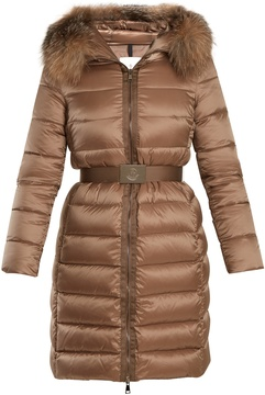 Moncler Tinuviel hooded fur-trimmed quilted down coat