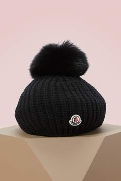 Moncler Wool hat with fur pompom