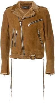 Amiri zip detailed biker jacket