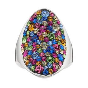 Confetti Crystal Oval Ring