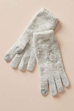 Anthropologie Pearled Grey Gloves
