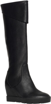 Max Studio Zuni Leather Wedged Lug Soled Tall Boots