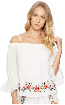 J.o.a. Embroidered Off the Shoulder Top Women's Clothing